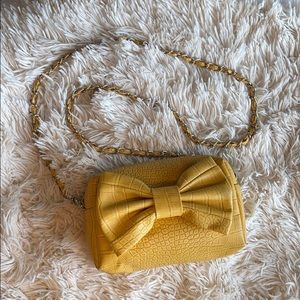 Gold Faux Leather Purse with Bow